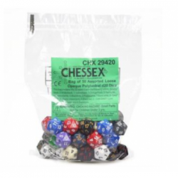 Chessex Asst. Dice - Loose Opaque Polyhedral d20 Dice / zaruri